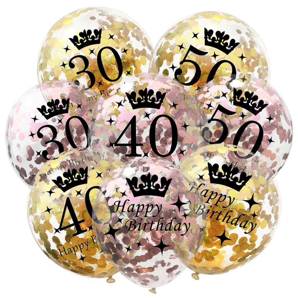 5pc Inflatable Confetti Balloons 12 Inch Latex Clear <font><b>Birthday</b></font> Balloons 18 30 40 50 60 <font><b>70</b></font> 80Anniversary <font><b>Decoration</b></font> Party Favors image