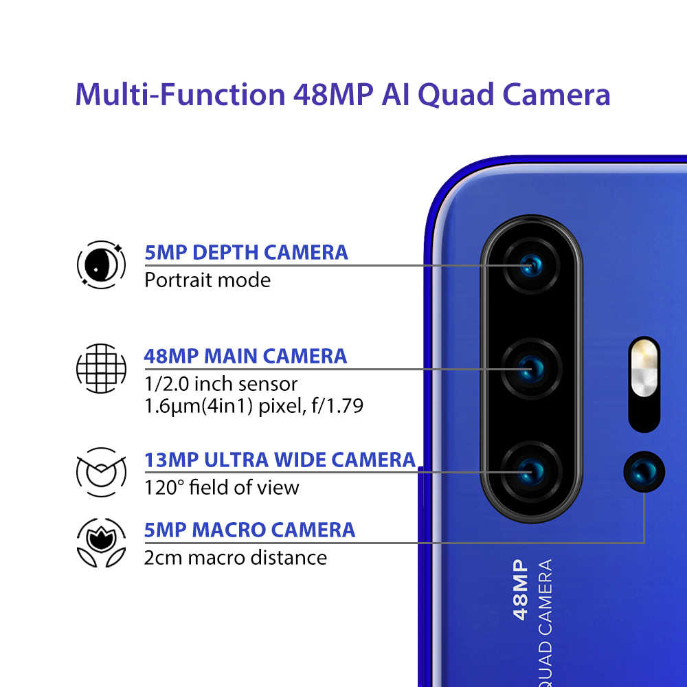 "UMIDIGI F2 version globale 6GB 128GB NFC Android 10 6.53 ""FHD 32MP Selfie Helio P70 48MP AI Quad caméra téléphone portable 5150mAh"