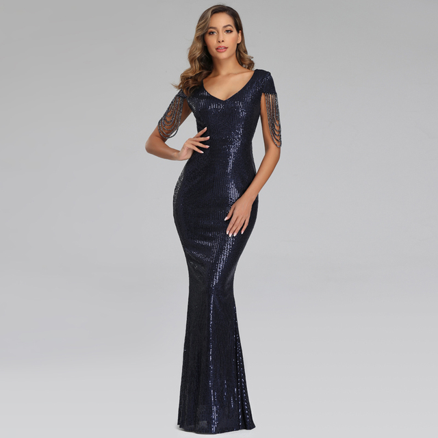 New Women Sequins Long Evening Dress Elegant V-neck Beading Evening Party Dress 4
