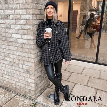 KONDALA Za 2021 Fashion Women Plaid Print Vintage Blazer Single Breasted Oversized Long Jackets Female Elegant Blazer 1