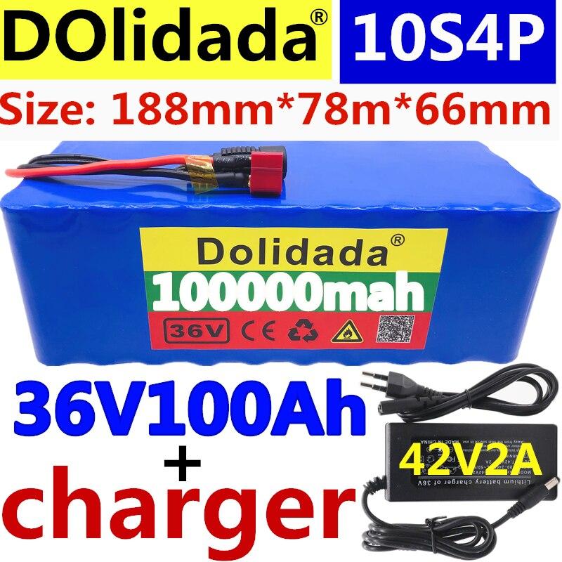 2021 original 36v bateria 10s4p 100ah bateria 1000w bateria de alta potência 42v 100000mah ebike bicicleta elétrica bms + 42v2a carregador