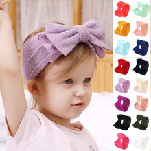 Multicolor Headbands angel Baby laced gold velvet fat bow tie Turban Knot Head Wrap Hairband Stretch Hair Head Hoop Sweet Girls(China)