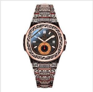 Relojes de Acero dorado para hombre, de pulsera, informal, de cuarzo, de cobre, esfera grande, reloj con calendario, masculino