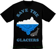 Save The Glaciers Ice Glacier With Cute Whale Swimmer Men's T Shirt Pour Hommes Short Sleeve Summer Style(China)