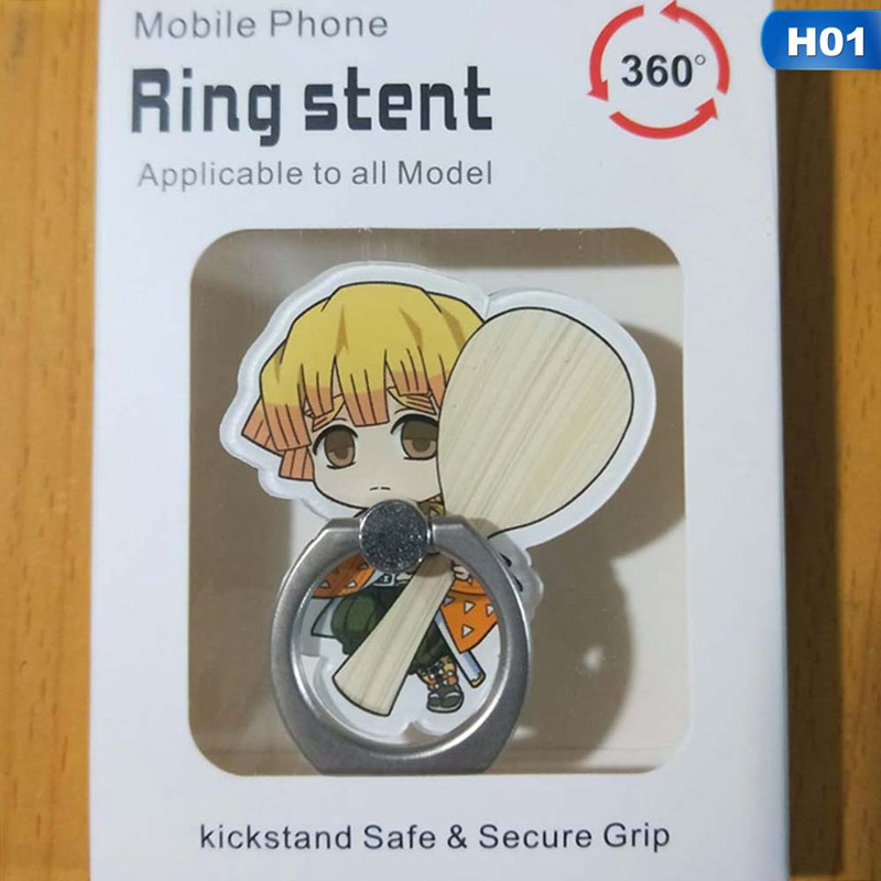 Anime Demon Slayer Kimetsu No Yaiba Cute Girls Phone Mount Finger Ring Holder Mobile Stand Rosette Anime Cosplay