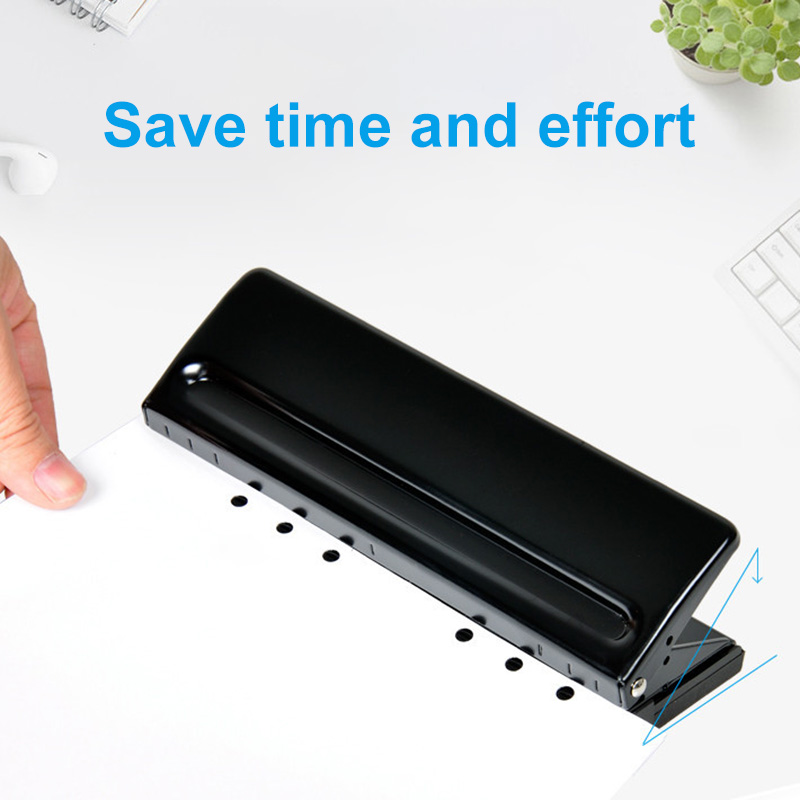 Manual 6 Holes Perforator Adjustable Universal Puncher For Files Paper Documents OD889