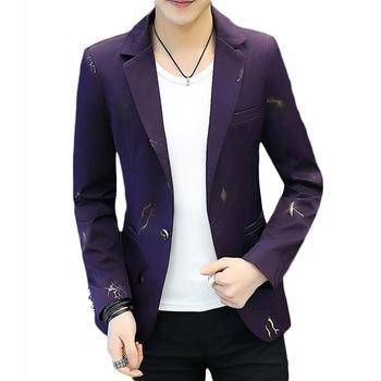 Fashion Men Printed Long Sleeve Lapel One Button Slim Blazer Suit Jacket Coat Men Blazer Korean Style Slim Men Suit Coat Casual