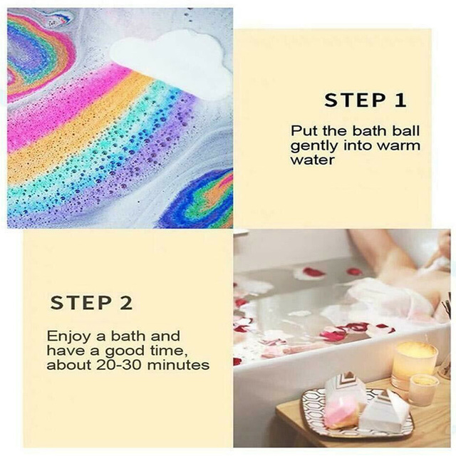 Dropshipping Natural Skin Care Cloud Rainbow Bath Salt Exfoliating Moisturizing Bubble Bath Bombs Ball Cleaning Body Skin  SMJ 4