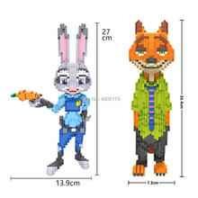 hot LegoINGlys cartoon Zootropolis nick fox judy rabbit police figures mini micro diamond building blocks model bricks toys gift стоимость
