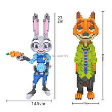 Hot LegoINGlys cartoon Zootropolis nick vos judy konijn politie cijfers mini micro diamant bouwstenen model bricks speelgoed gift(China)