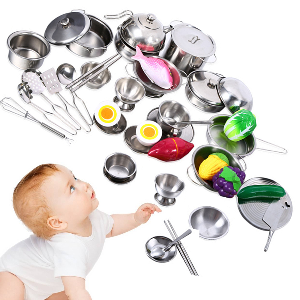 25Pcs Girls Toys Stainless Steel Tableware Baby Kitchen Toys Cooking Cookware Kitchen Dishes Suit Figures Pretend Play House