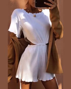 2020 Women Elegant Fashion Round Neck Short Sleeve Solid Casual Sexy Romper Summer Female Cut Out Frill Hem Romper cut out front fringe hem jumpsuit