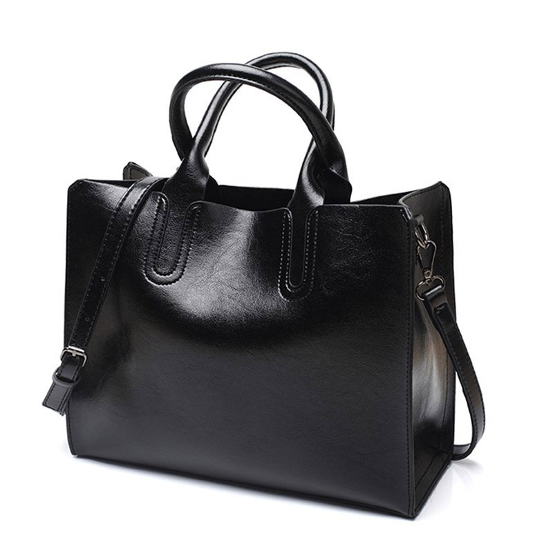 Women's Leather Handbag 2020 Fashion Black Shoulder Bag For Women H19-001 Capacious Female Bag
