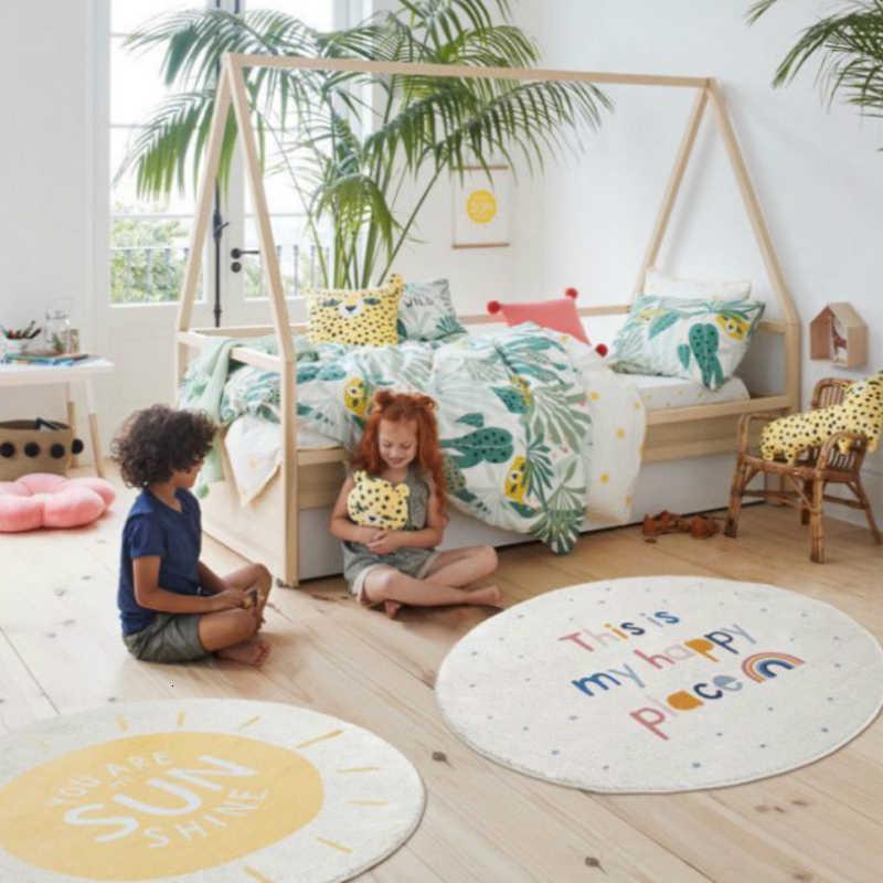 RFWCAK รอบพรมสำหรับห้องนั่งเล่นเด็กเล่นเสื่อเด็ก Crawling พรมผ้าห่มผ้าฝ้ายเกม Pad เด็กตกแต่งห้อง