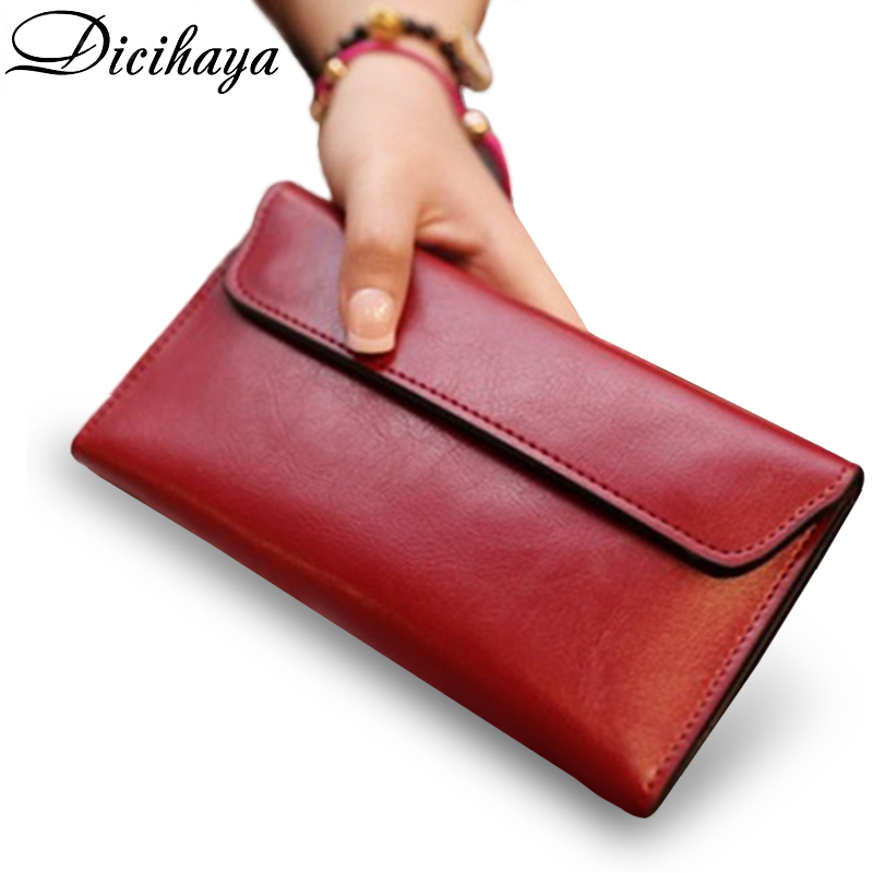 DICIHAYA Leather Women Wallets Fashion Clutch Wallet Female Purse Bag Portomonee Clamp For Phone Bag Long Lady Handy Card Holder