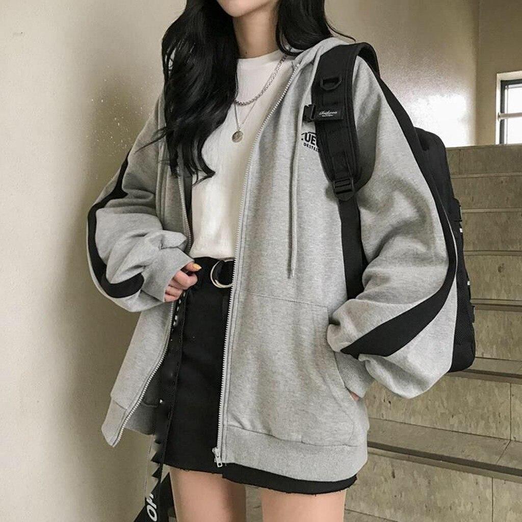 Zip-up harajuku hoodies para roupas femininas com capuz manga longa jumper com capuz casaco regular casual estilo coreano moletom