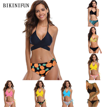 New Cross Bandage Bikini Women Swimsuit Print Bathing Suit S-XL Girl Sexy Backless Swimwear Padded Halter Two Piece Bikini Set lunamy 2018 new floral print two piece swimsuit women swimsuit female sexy backless bikini set beach bathing suit with pants