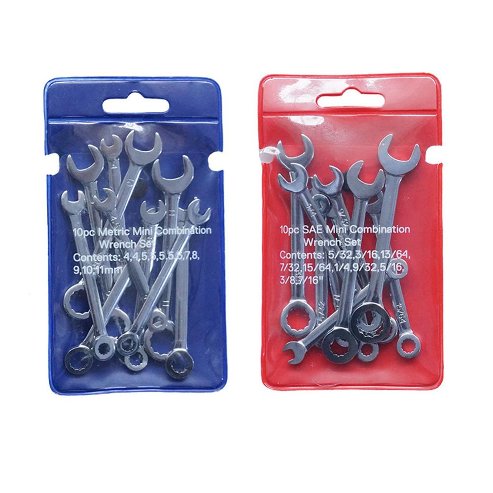 10pcs Mini Wrenches Set Spanner Hand Tools Anti Slip British And Metric Type Dual Use Wrench Portable Home Repair Combination