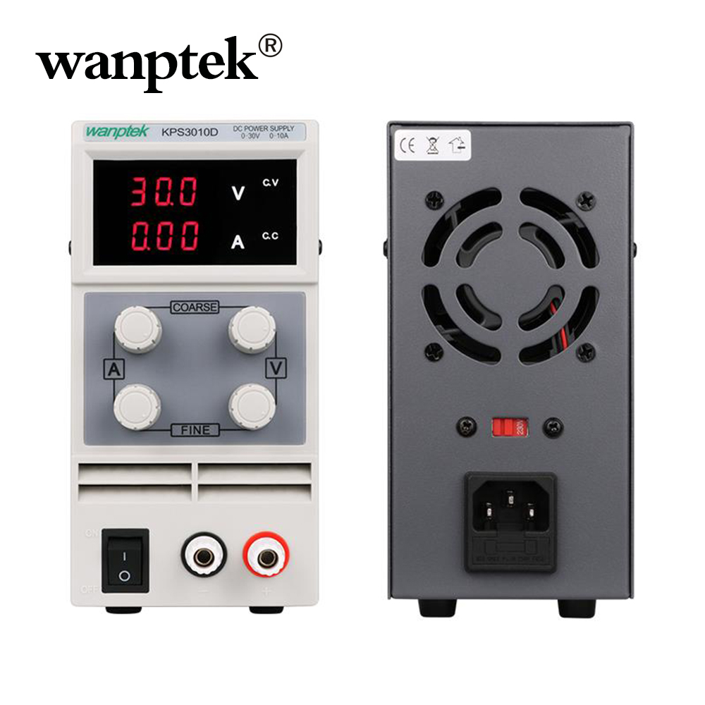 Wanptek KPS3010D 30V 10A AC110V-220V Adjustable High precision double display mini switch DC Power Supply protection function