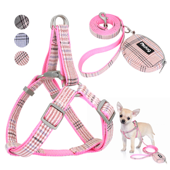 Cute Dog Harness Adjustable Nylon Pet Puppy Chihuahua Harness Vest Dog Leash Set Pink For Small Medium Dogs Cats Pet Products pet leash pink