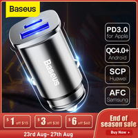 Baseus-cargador de teléfono móvil para coche, dispositivo de carga rápida 4,0 3,0 SCP, USB tipo C, PD, 30W, para Huawei y xiaomi