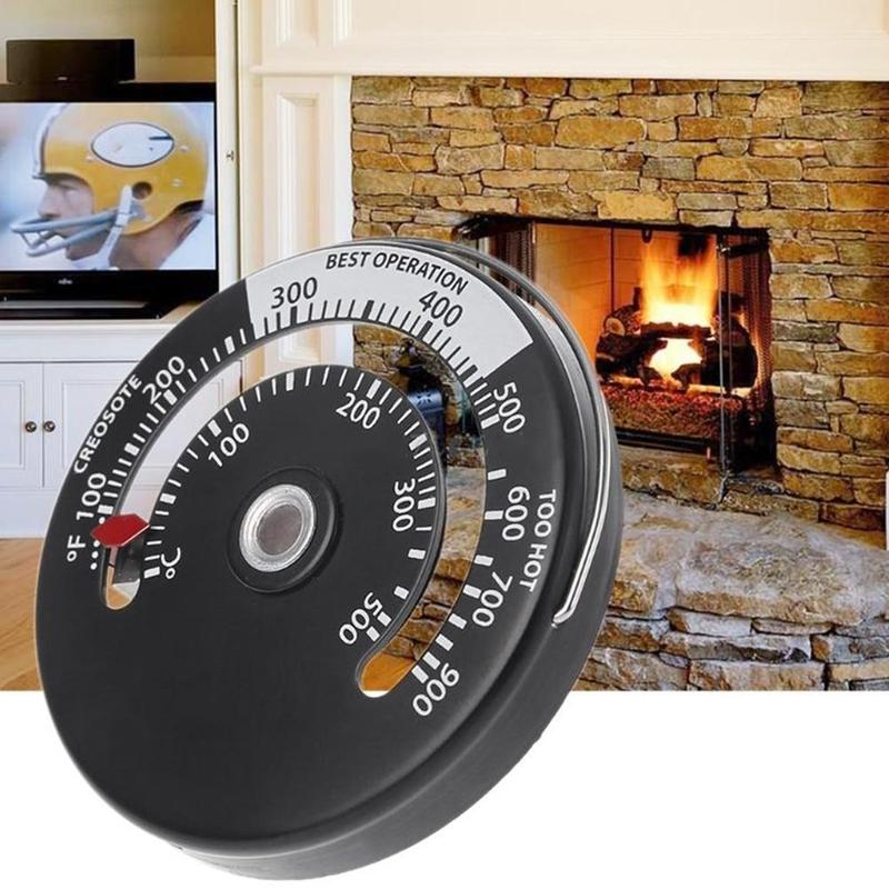 1 Pc Fireplace Thermometer Wood Log Burning Stove Pipe Fire Flue Heater Aluminum Alloy High Quality Adsorption Widely Used New