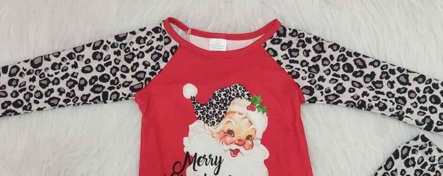 Christmas Top.2019 Christmas Outfit Baby Girls Cartoon Santa Top Leopard Flare Pants 2 Pcs Set Kid Boutique Children S Clothing Suits Gxj
