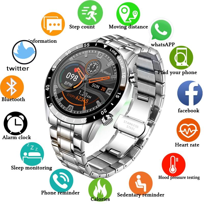 LIGE 2021 yeni akıllı saat erkekler tam dokunmatik ekran spor spor izle IP68 su geçirmez Bluetooth Android ios smartwatch için erkek