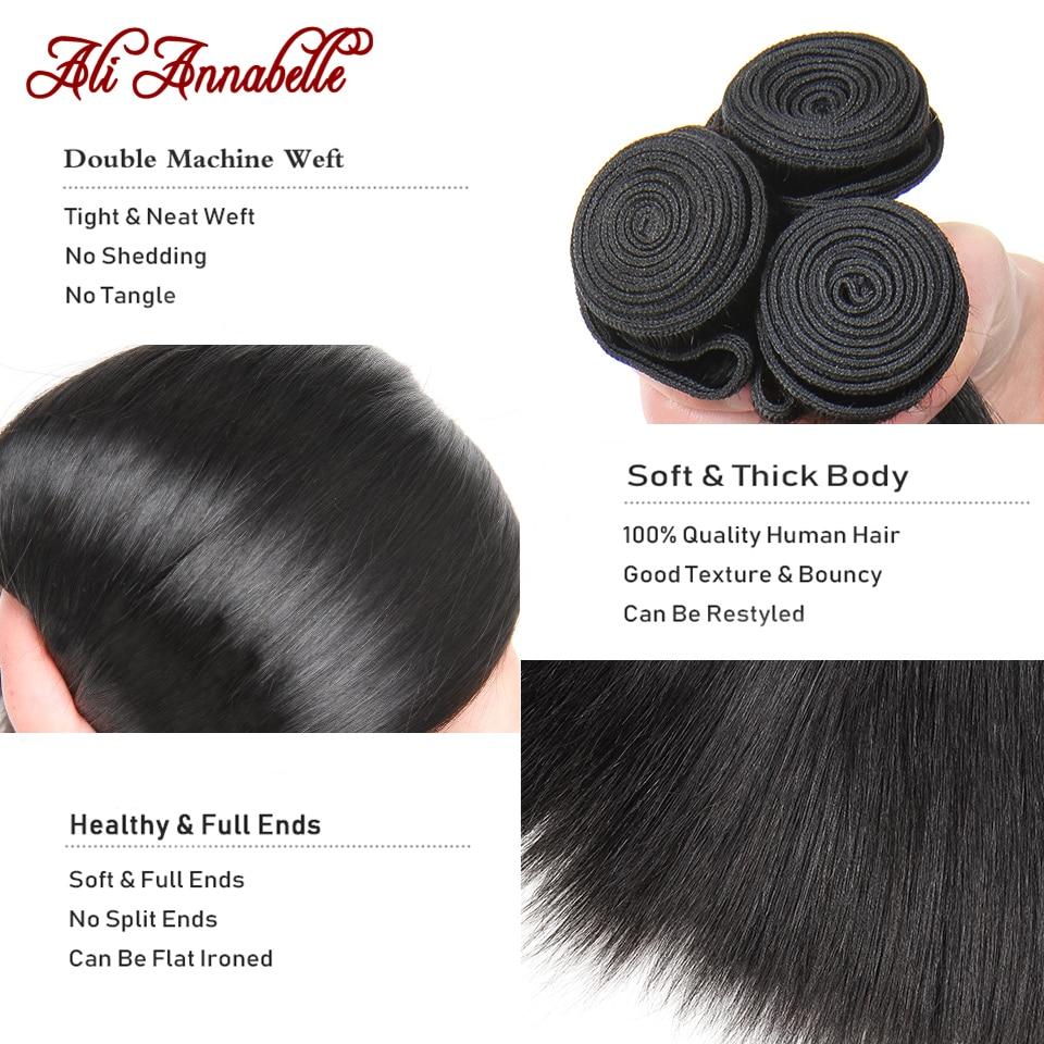 ALI ANNABELLE Straight Hair Bundles Human Hair Bundles 34 32 30 28 Inch 1 3 4 Bundles Deals Natural Brazilian Hair Weave Bundles 4
