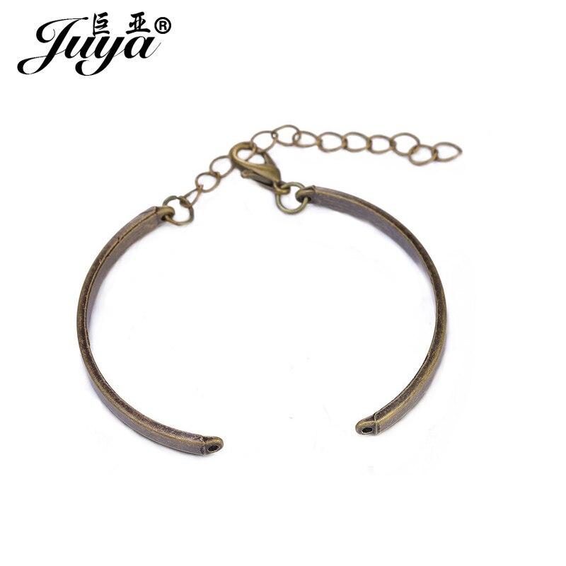 JUYA 5pcs/lot 3 Colors Zinc Alloy Bracelet Accessories 2 Bent Tube Lobster Clasps Chain For Bracelet DIY Jewelry Making Supplies