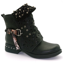 купить Rivets Faux Leather Booties Buckle Straps Thick Heel Black Ankle Women Boots Studded Decorated Woman Boots Motorcycle по цене 2489.97 рублей
