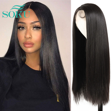 Lace Front Wig Synthetic Hair Long Straight Natural Color Middle Part With Baby Hair Heat Resistant Fiber Hair For Black Women