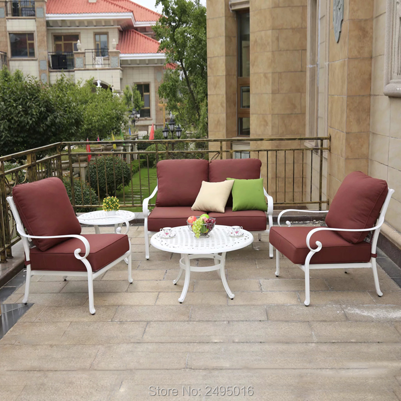 5-person Patio Sofa Set Solid Cast-aluminum Outdoor Furniture Converstaion Patio Set With Cushion For Pooliside