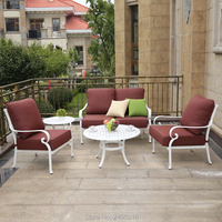 5-person Terrasse Sofa set solide Cast-aluminium outdoor möbel converstaion terrasse set mit kissen für pooliside