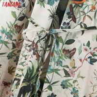 Tangada fashion women leaf print halter sundress with slash 2020 new arrival Ladies midi Dress Vestidos QB148 3
