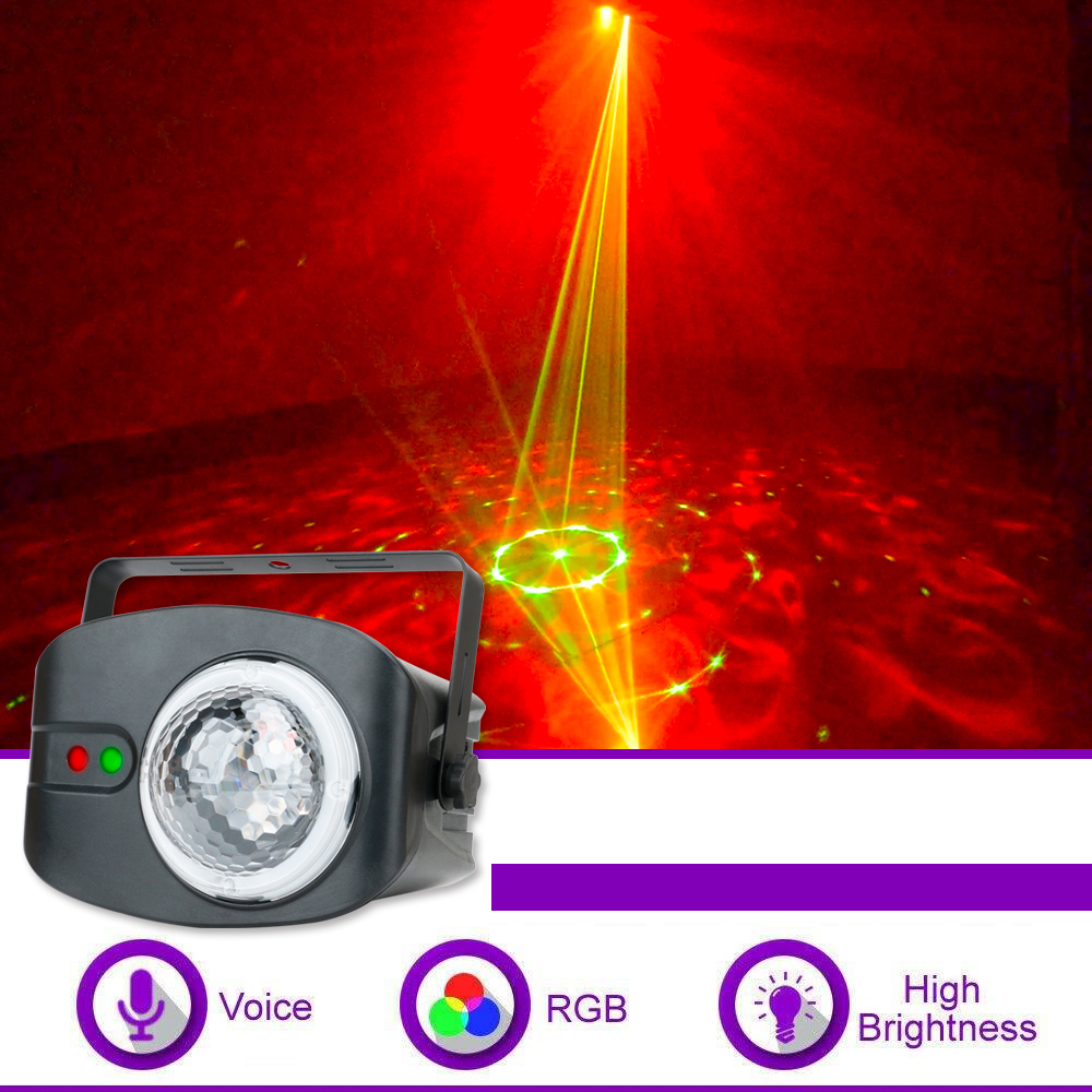 48 Pattern Water Ripple Stage Light Red & Green Color Laser Ball Lights Remote Control Party Light Projector For DJ Disco Bar