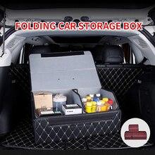 Organizador de maletero de coche, caja de almacenamiento plegable para asiento trasero, bolsa de herramientas, de cuero PU, accesorios para automóviles