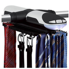 Electric Tie Rack with LED Automatic Belt Hanger Holds up to 72 ties and 8 belts Silverelectronic Revolving an