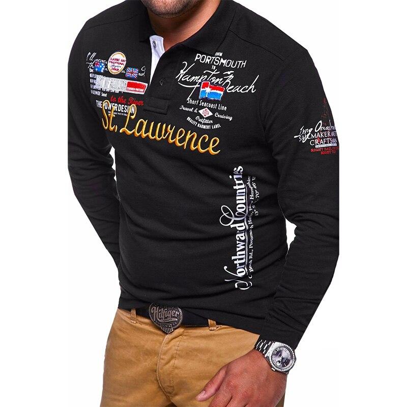 ZOGAA Hot Sale Man's New Fashion Brand Clothing Men's   Polo   Shirt Men Long Sleeve Letter Print Breathable Male Cotton Slim Collar