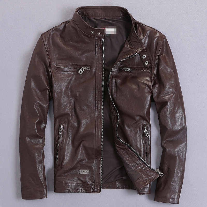 Lente Herfst Mannen Echt Lederen Jas Korte Slanke Moto Jassen Voor Mannen Bovenkleding Jaqueta De Couro MF030