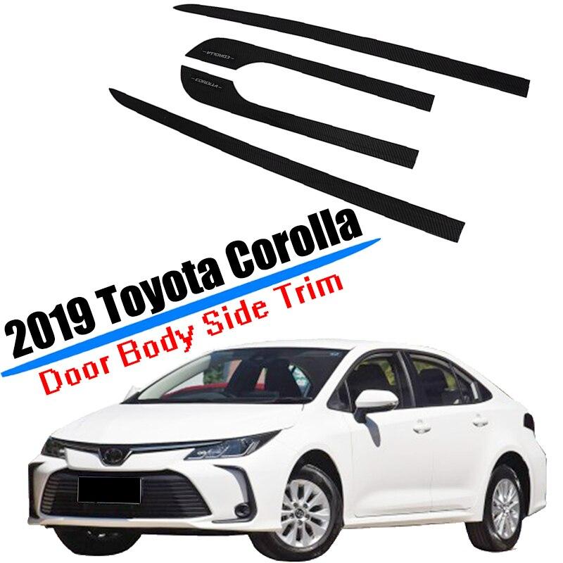 Adapté pour 2019 2020 Toyota Corolla porte corps garniture latérale Protection moulage couverture en Fiber de carbone ABS plastique accessoires de style de voiture