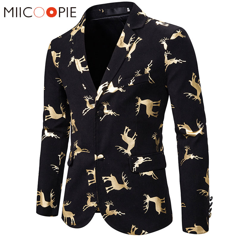 Prom Dresses 2019 Christmas Blazers Men Suits Gold Bronzing Elk Print Casual Business Slim Suit Jacket Men Veste Mariage Homme