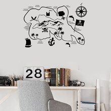 Pirate Map Nautical Home Decor Interior Design Wall Sticker Vinyl Compass Decals Kids Room Boys Bedroom Playroom Murals 3648