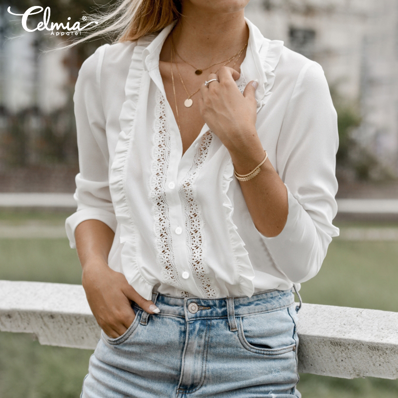 Stylish Top Celmia Women Long Sleeve Lace Blouse 2020 Autumn Lapel Sexy Hollow Out Casual Female Shirts Elegant Ruffles Blusas 7