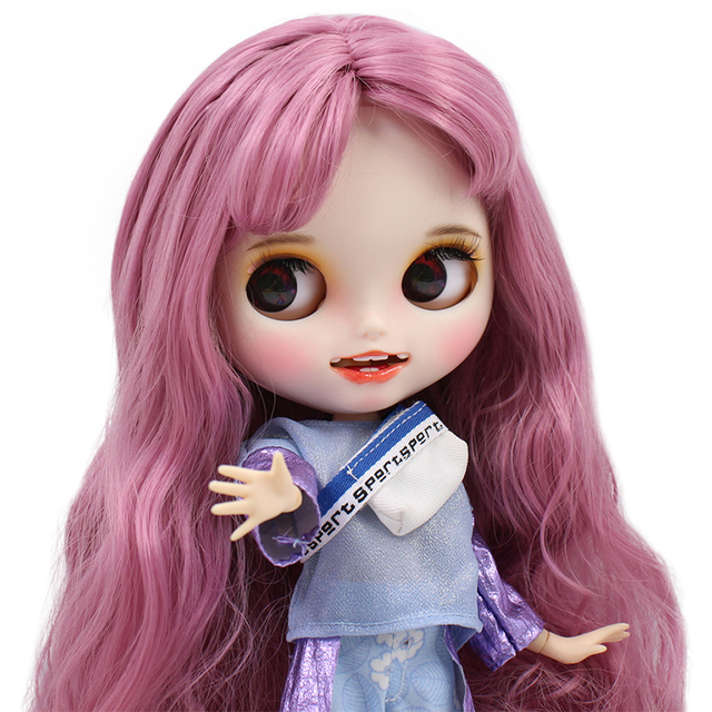 Blyth Doll 1/6 Joint Body hand painted matte face white skin pink mixed color curls hair suit 30cm DIY BJD SD toys gift