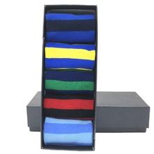 MYORED drop shipping cadeau chaussettes peigné coton rayures classiques affaires décontracté streetwear coloré Calcetines de hombre