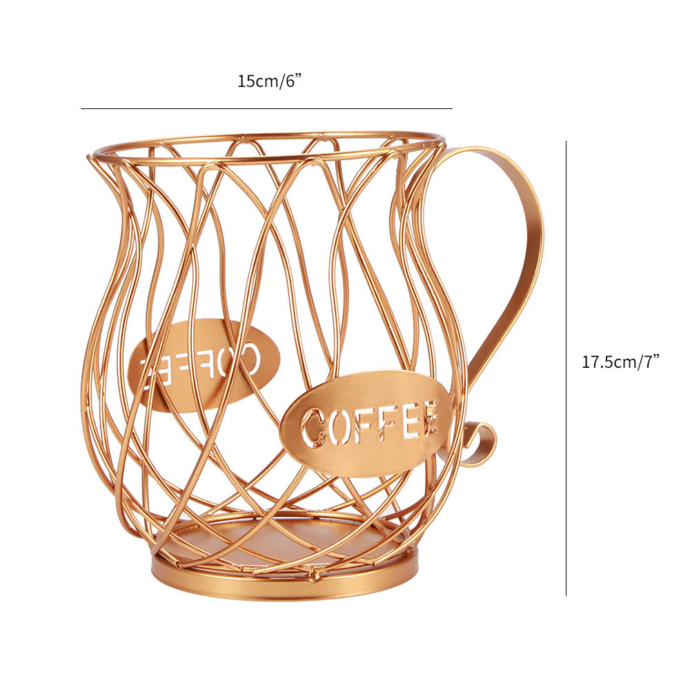General Coffee Capsule Storage Basket Coffee Cup Basket Retro Coffee pod organizer Holder Black for the Family Cafe Hotel