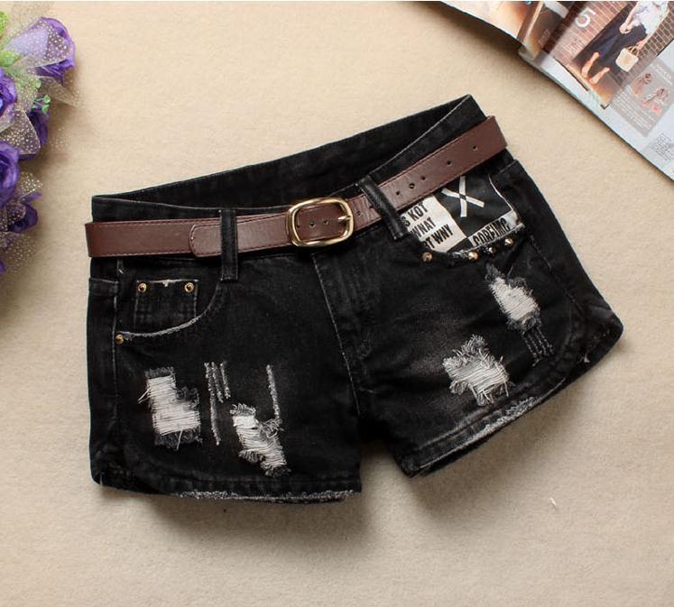 Women Sexy Mini Shorts Rivet Holes Jeans Low Waist Shorts Without Belt Ripped Denim Short 37