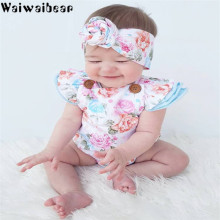 Waiwaibear Baby Infant  Rompers Girls Headband Slessless Prints Cartoon Jumpsuit Toddler Clothes