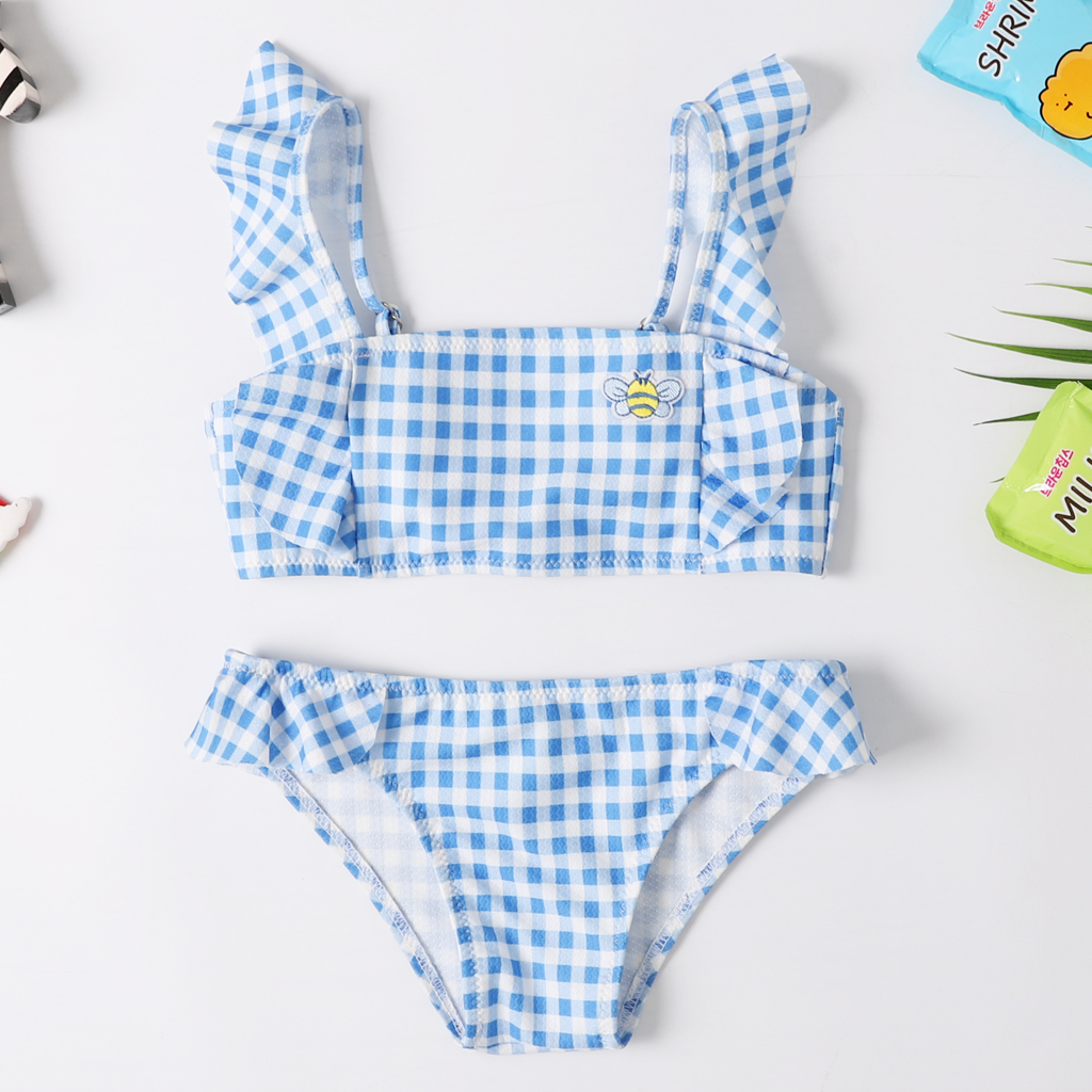 2020 New Baby Girl's Bikini Set Classic Blue Geometric Swimsuit Embroidery Flounce Swimwear Little Girl  Adjustable Bathsuit